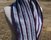 Grey and Purple Stripe Cowl Scarf