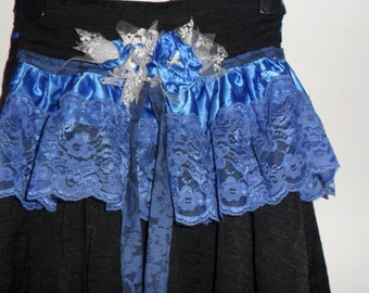Steampunk Black and Blue  Mini Bustle Skirt