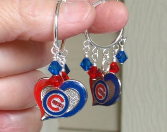 Chicago Cubs Earrings, I Love Baseball Red and Blue Crystal Hoops, Cubs Baseball Bling, Pro Baseball Cubs Accessory