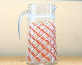 Painted Glass Pitcher - Vintage 40's/50's