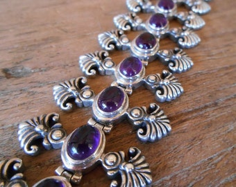 Balinese Chain sterling Silver Bracelet Amethyst gems / Silver 925 / Bali handmade jewelry