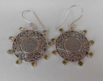 Balinese Granulation art.  Sterling Silver eight peridot gems dangle Earrings / 1.85 inch long / silver 925 / Balinese handmade jewelry
