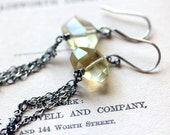 Long Dangle Earrings November Birthstone Yellow Quartz and Oxidized Sterling Silver Chain - Magpie Earrings