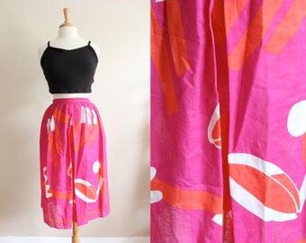 Vintage Liz Claiborne Abstract Print Pink Midi Skirt