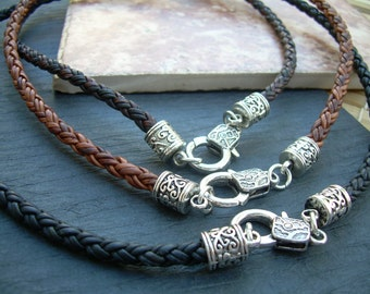 Leather Necklace, Mens Necklace, Womens Necklace, Mens Jewelry, Womens Jewelry, Antique Silver, Braided