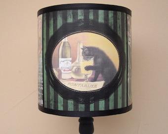 Absinthe Lamp Shade Lampshade - Bohemian decor, lighting, green lamp shade, striped lamp shade,cat lamp,vintage advertising,alcohol labels