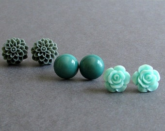 "Flower Stud Earrings, Set of 3, Aqua, Teal, Grey, Button Earrings, Silver Filled Posts, ""Garden Party No. 2"""
