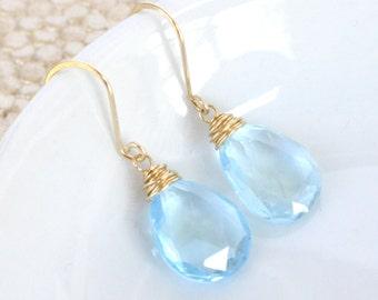 Blue Topaz Earrings, November Birthstone Jewelry, Gold Filled, Swiss GENUINE Blue Topaz, Sky Blue Pastel