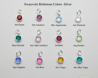 One Sterling Silver Plated Flat Swarovski Crystal Birthstone Charm, Birthstone Charms, Swarovski Crystal Birthstone Charm, Crystal Charm
