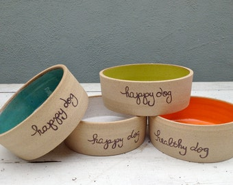 Personalized Dog Bowl, Pet Bowl, Dog bowl pottery, Ceramic Dog Dish, Personalized Pet Dish, Colorful Dog Bowl