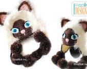 Siamese Furry Kitty Cat Hat MADE to ORDER Handmade Crochet Hat