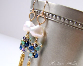 Pearl and Gemstone Tassel earrings in gold