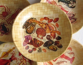 Vintage Beach Clambake Lobster Handwoven Bamboo Bowls Large Set of 5