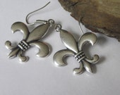 Silver Fleur De Lis Dangle EarringsFleur De Lis Earrings French Lily Dangle Earrings Celtic Jewelry