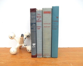 Set of 4 Vintage Blue and Red Books for Home Decor