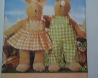 "Bunny stuffed doll & clothing Butterick 5328 craft Wardrobe sewing pattern 19"" tall stuffed rabbit embroidered face stuffed doll rabbit"