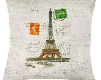 Vintage Paris postcard cushion /pillow