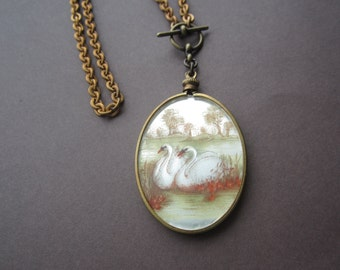 Vintage Swan Scene As A Necklace In Orange White AndGreens