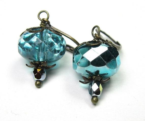 Aqua Ice, Vintage Style, Czech Glass Dangle Earrings, Sparkling Earrings, Metallic, Teal, Antiqued Brass Jewelry, Women's Accessories, Bling