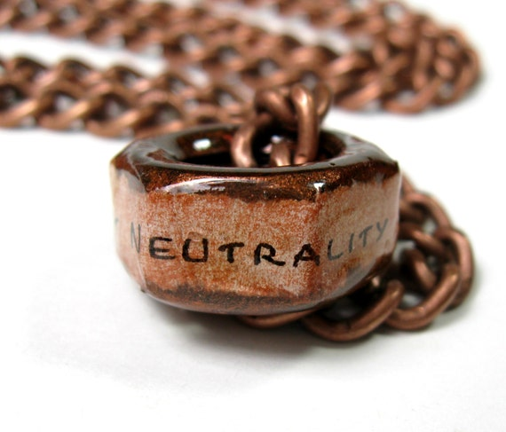 Net Neutrality, Net Neutrality Nut, Hex Nut Necklace, Copper, Protect Net Neutrality, Internet, Industrial Chic, Metal, Steampunk, FCC