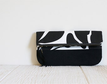 Fold Over Clutch, Print Clutch, Vegan Clutch, Black and White Print