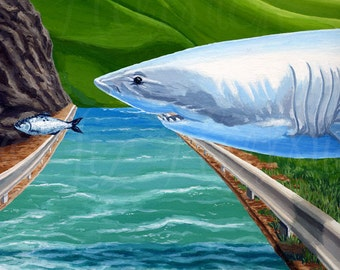 Fish Out Of Water, Gouache Print, Surreal Art Series by Liz Hutnick, Wall Art, Shark Chasing a Fish, Ocean and Hills