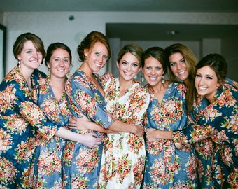 Floral Bridesmaids Robes Sets Kimono Crossover Robe Wrap bridesmaids gifts, getting ready robes, Bridal shower favors, pre-wedding pics