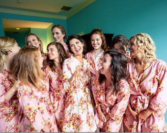 Pink Bridesmaids Robes Kimono Crossover Robe Perfect bridesmaids gift, getting ready robes, Bridal shower favors, Wedding photo prop