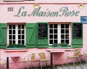 Paris Photography - Pink Cafe, La Maison Rose, Romantic Travel Photograph, French Home Decor, Large Wall Art