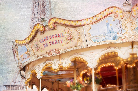 Paris Photography - Carousel at the Eiffel Tower, Nostalgic, Vintage Nursery Decor, Large Wall Art
