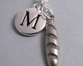 French Bread Necklace, Baguette Charm, French Bread Keychain, Silver Plated Charm, Initial, Personalized, Monogram