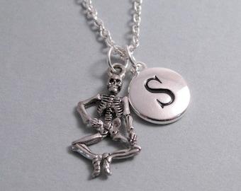 Dancing Skeleton Necklace, Dancing Skeleton Charm, Skeleton Keychain, Silver Plated Charm, Engraved, Monogram Charm