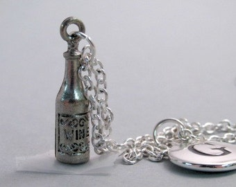 Wine Bottle Charm Necklace, Wine Charm, Antique Silver Plated Charm, Wine  Bottle Keychain, Personalized, Monogram Charm