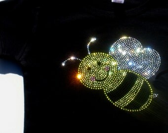 2T 3T 4T 5T 6X rhinestone Bumblebee shirt for Bumble Bee Costume