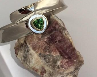 True Green Maine Tourmaline Overlap Bracelet in 14k Green and White Gold, Handmade in Maine