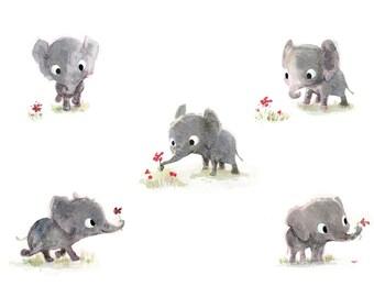 Little elephants 8x10 print