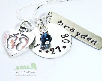 Personalized necklace  - Handstamped necklace - Mother necklace - Name and date stamp - Baby feet charms
