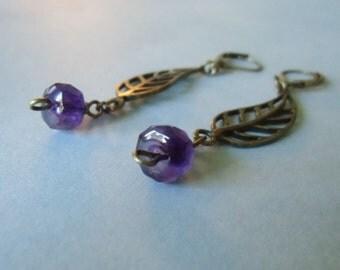 Amethyst gemstone briolette 8mm, wire wrapped, brass earrings . February birthstone.