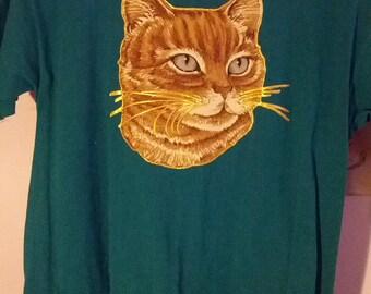 kitty kat tshirt cat puffy paint art applique small medium boho aqua green