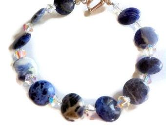 Sodalite beaded bracelet  bangle cuff gemstone with swarovski elements crystals sterling silver blue denim jewelry heart
