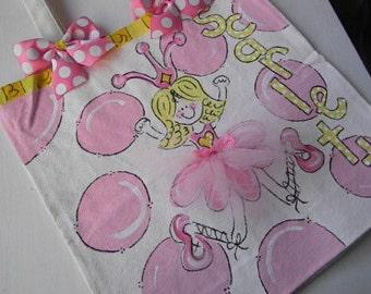 Personalized Dance Bag-hand painted dance bag-tutu dance bag-tutu ballet bag-tutu tote bag- personalized tote bag