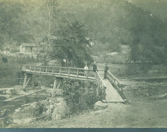 Walking Across The Wooden Bridge Over the Country Road Antique  RPPC Real Photo Postcard Vintage Black White Photo Photograph
