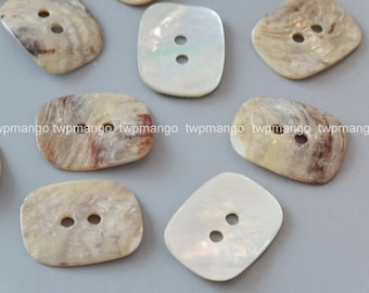 30 Large Rectangle Mother of Pearl Shell Buttons EB180