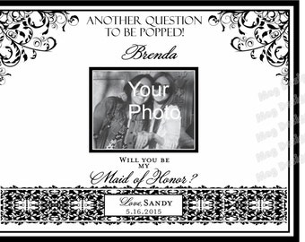 Black and White Champagne Labels for Personalized Bridesmaid Gifts and Wedding Favors