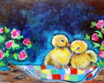 """Giclee print of """" Patitos"""" painting by Reddawn Designs"""