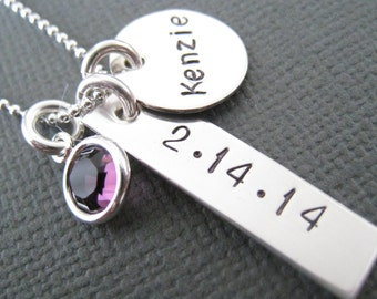 Hand Stamped Mommy Jewelry - Personalized Necklace - Sterling Silver Custom Necklace - Name and Date Tag Necklace