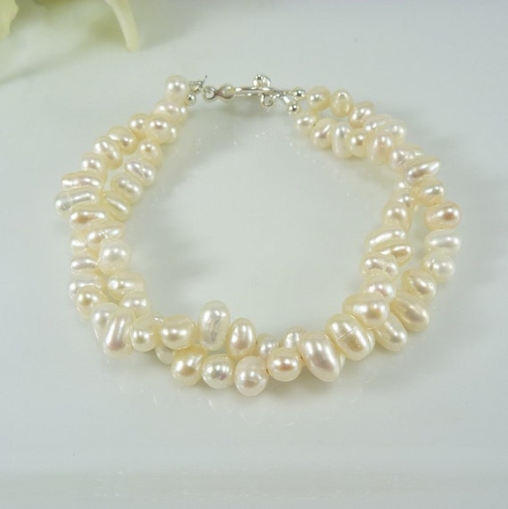 Pearl Bracelet - Multiple Strand - Off White Freshwater - Bridal, Bridesmaid, Silver Plated - Also Available in Gold
