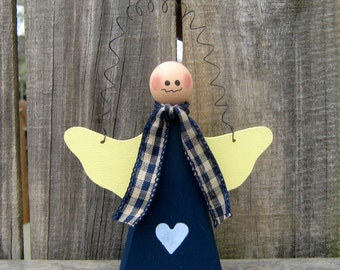 Angel Hanger, Primitive Decor, Painted Wood, Angel, Folk Art, Hand Painted, Navy Blue, Yellow, Checked Ribbon