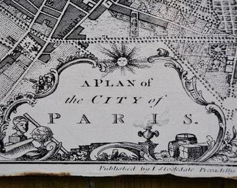 VINTAGE 1800 PARIS MAP - 30x36 -Salvaged Wood - Handmade - Home Decor - RuPiper Designs Original