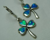 Sterling Silver Opal Earrings Shamrock Clover Blue Lab Created Opal Inlay